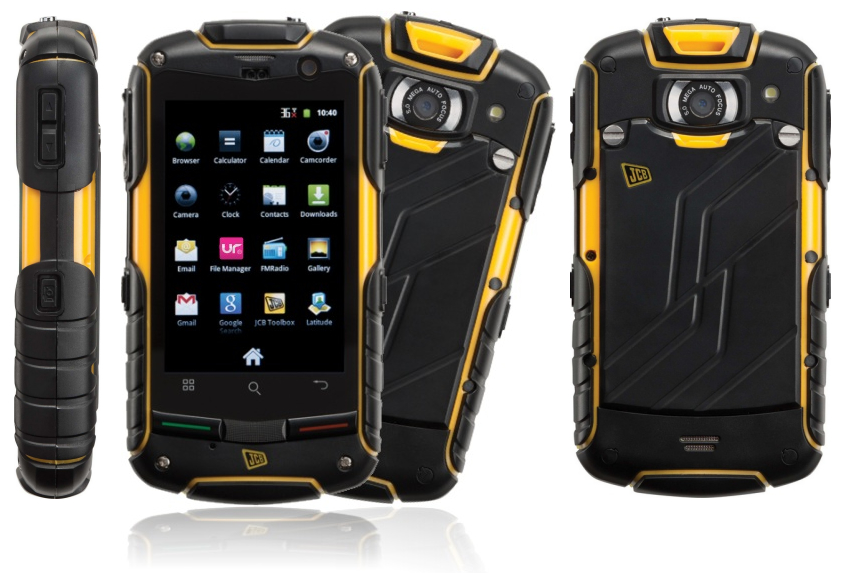 JCB Prosmart Toughphone side, back and front image showing the tough casing to protect the phone.