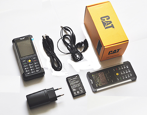 cat b100 toughphones image of handset and accessories