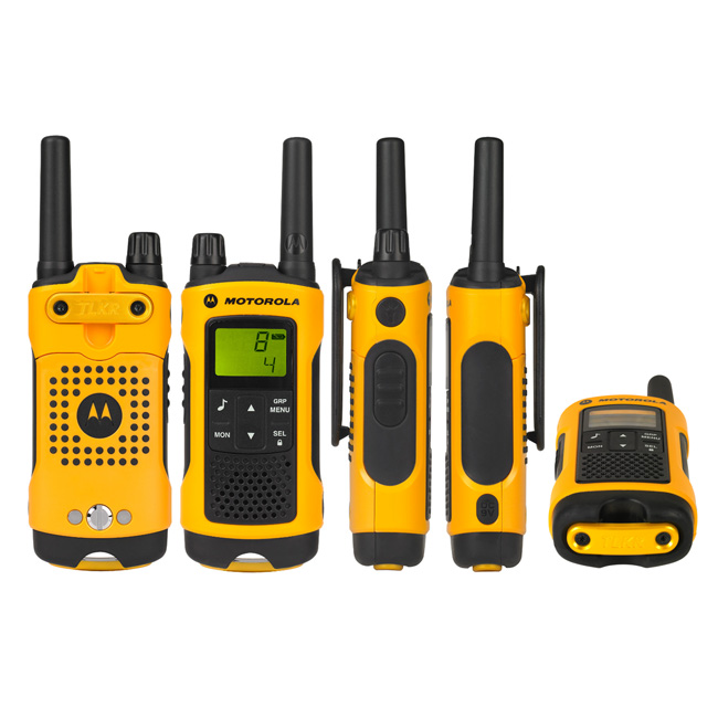 motorola t80 toughphones image showing front, back, side and bottom of walkie talkie