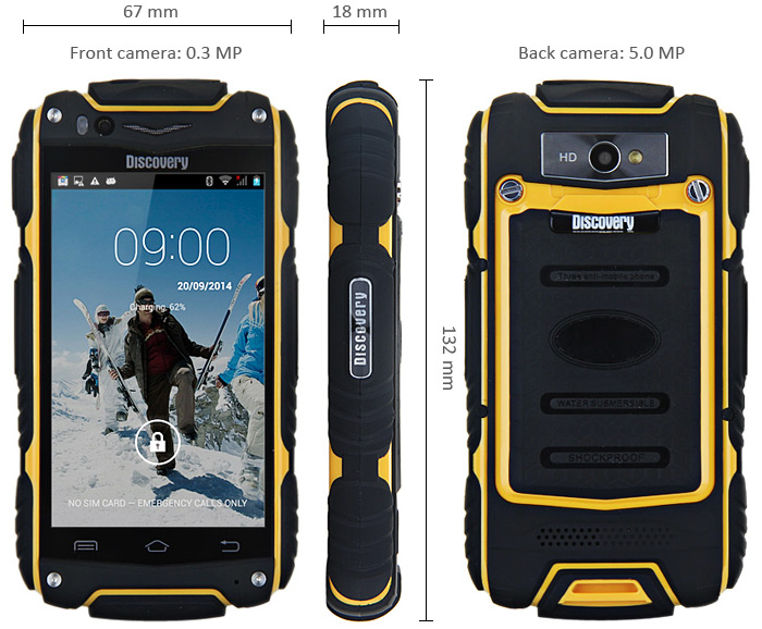 Image showing front, back and side of handset displaying sturdy casing to enable waterpoof